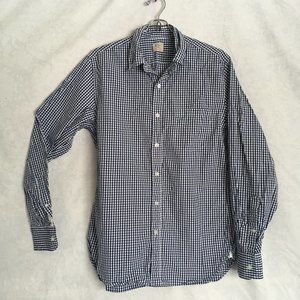J. Crew Blue and White Checked Button Down Shirt